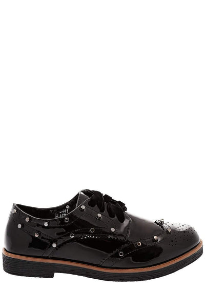 Velvet Laces Black Studded Brogues-Single price