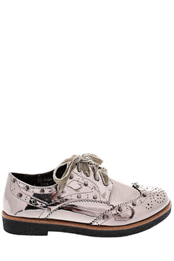 Velvet Laces Silver Studded Brogues-Single price