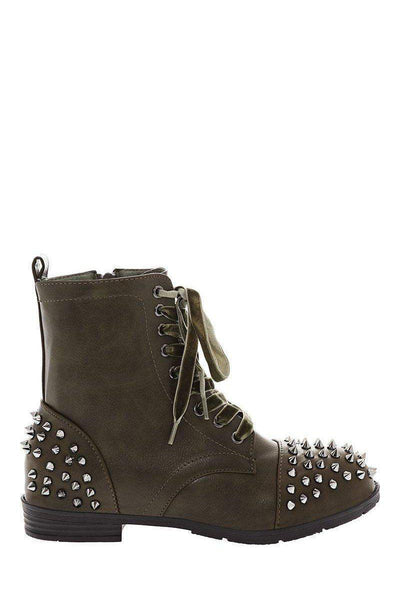 Velvet Laces Studded Green Boots-SinglePrice