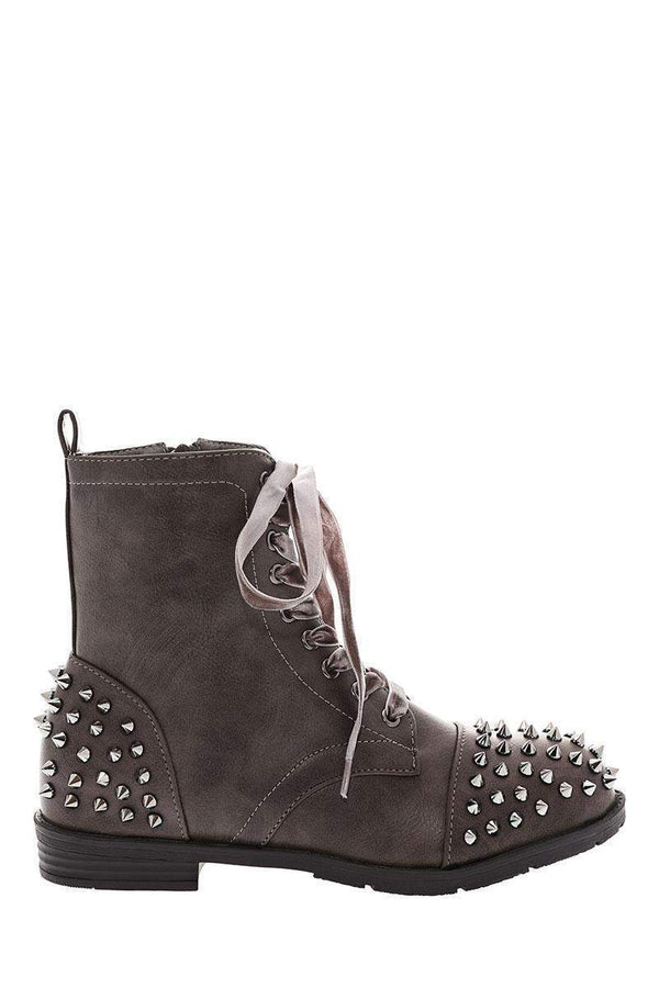 Velvet Laces Studded Grey Boots-Single price