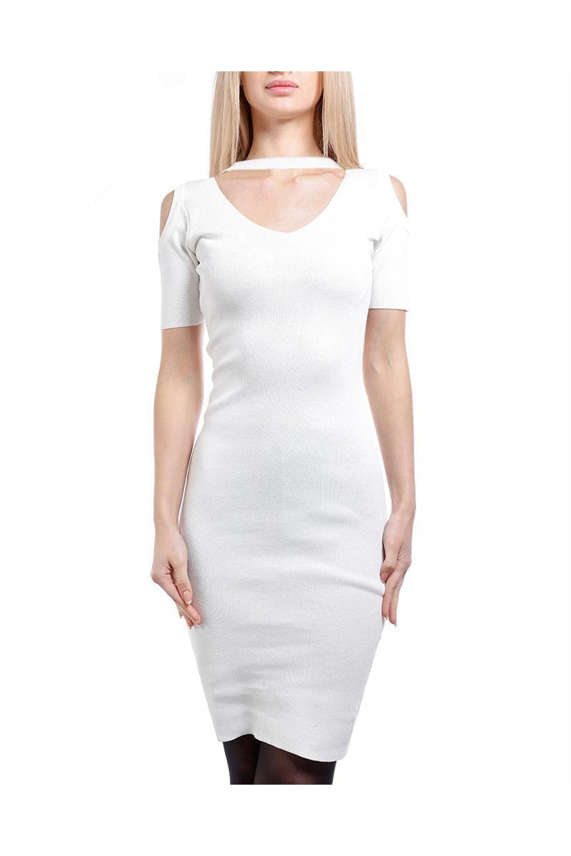 White Cold Shoulder Knitted Choker Dress-SinglePrice