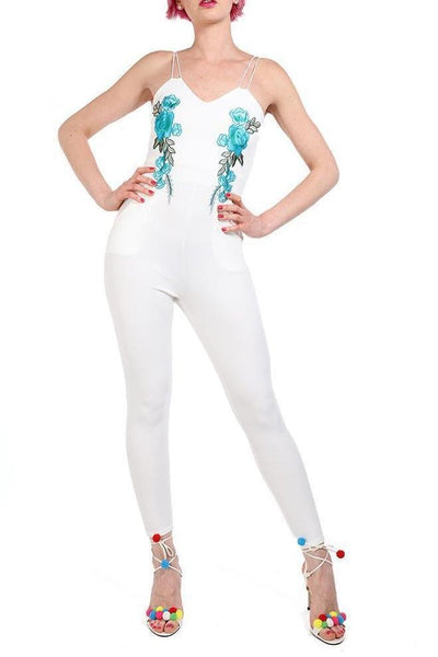 White Embroidered Skinny Jumpsuit-SinglePrice