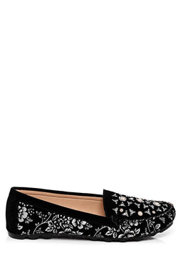 White Flower Embroidered Black Flat Shoes-SinglePrice