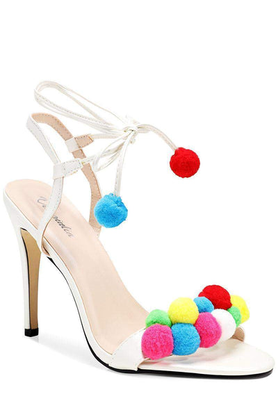 White Pom Pom Heels-Single price