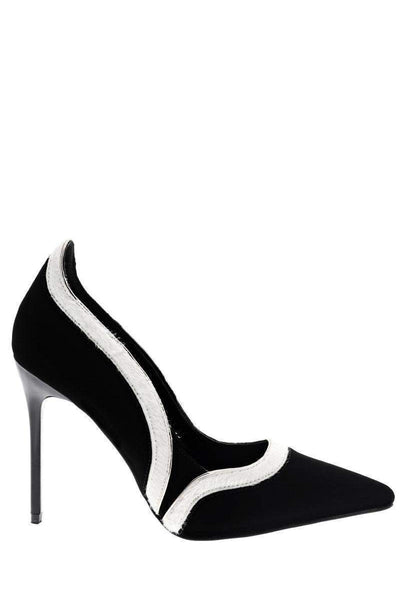 White Trim Pointed Toe Court Heels-Single price