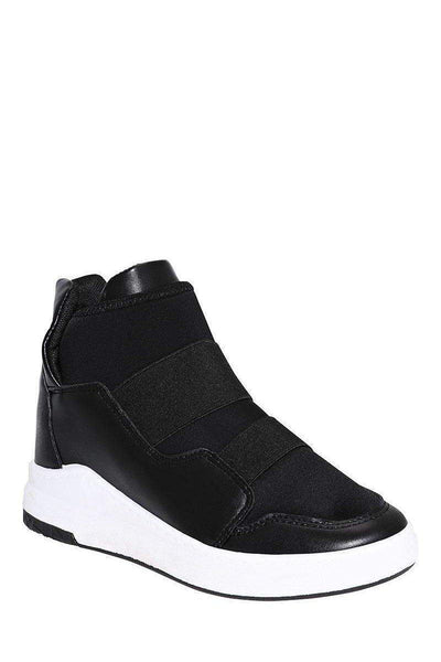 White Wedge Black Trainers-Single price