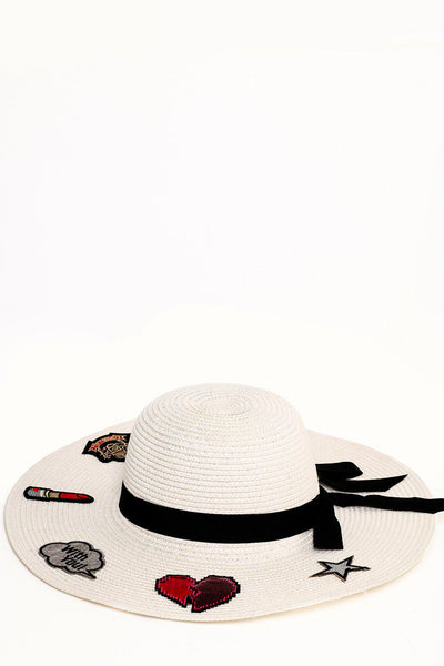Badges Embellished Cream Summer Hat