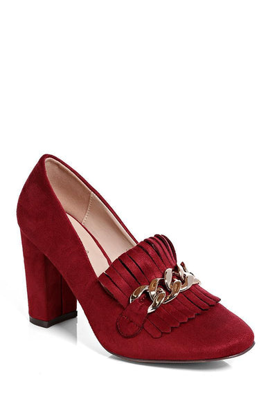 Wine Chain Detail Heeled Loafer-SinglePrice