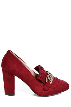 Wine Chain Detail Heeled Loafer - SinglePrice