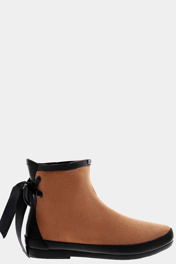 Tie Up Camel Ankle Welly Boots - SinglePrice