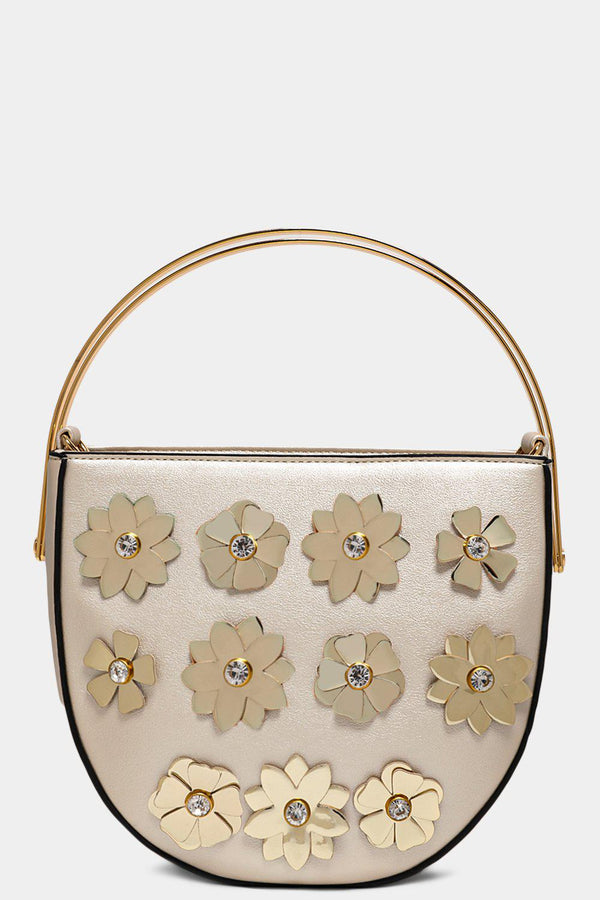 Silver Flowers Embellished Metal Handle Sadlde Bag - SinglePrice