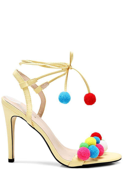 Yellow Pom Pom Heels-Single price