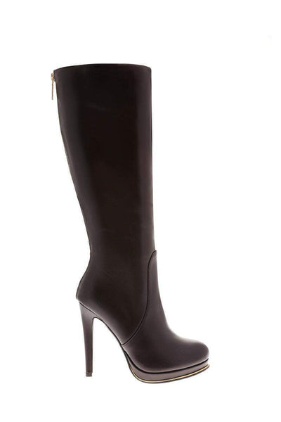 Zip Back Brown Knee High Platform Boots-Single price