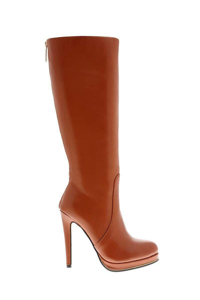 Zip Back Camel Knee High Platform Boots-Single price