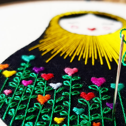 hand embroidered russian doll