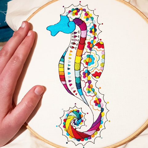 hand embroidered rainbow seahorse