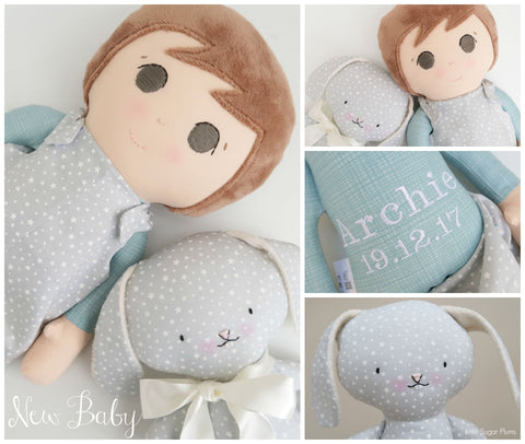 handmade boll doll and rabbit