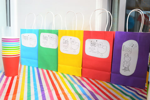 rainbow coloured party bags