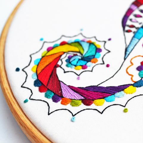 rainbow seahorse embroidery tail