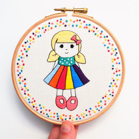 hand embroidery rainbow doll