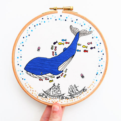 Whale hand embroidery hoop art