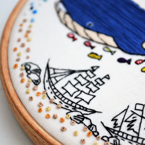 whale embroidery art