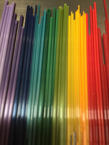 Glass sticks rainbow colours