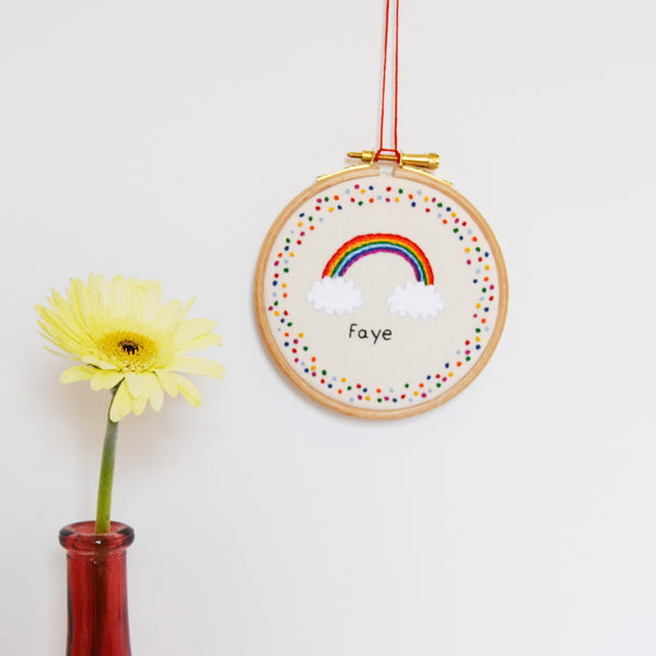 Personalised Rainbow Embroidery Hoop Art