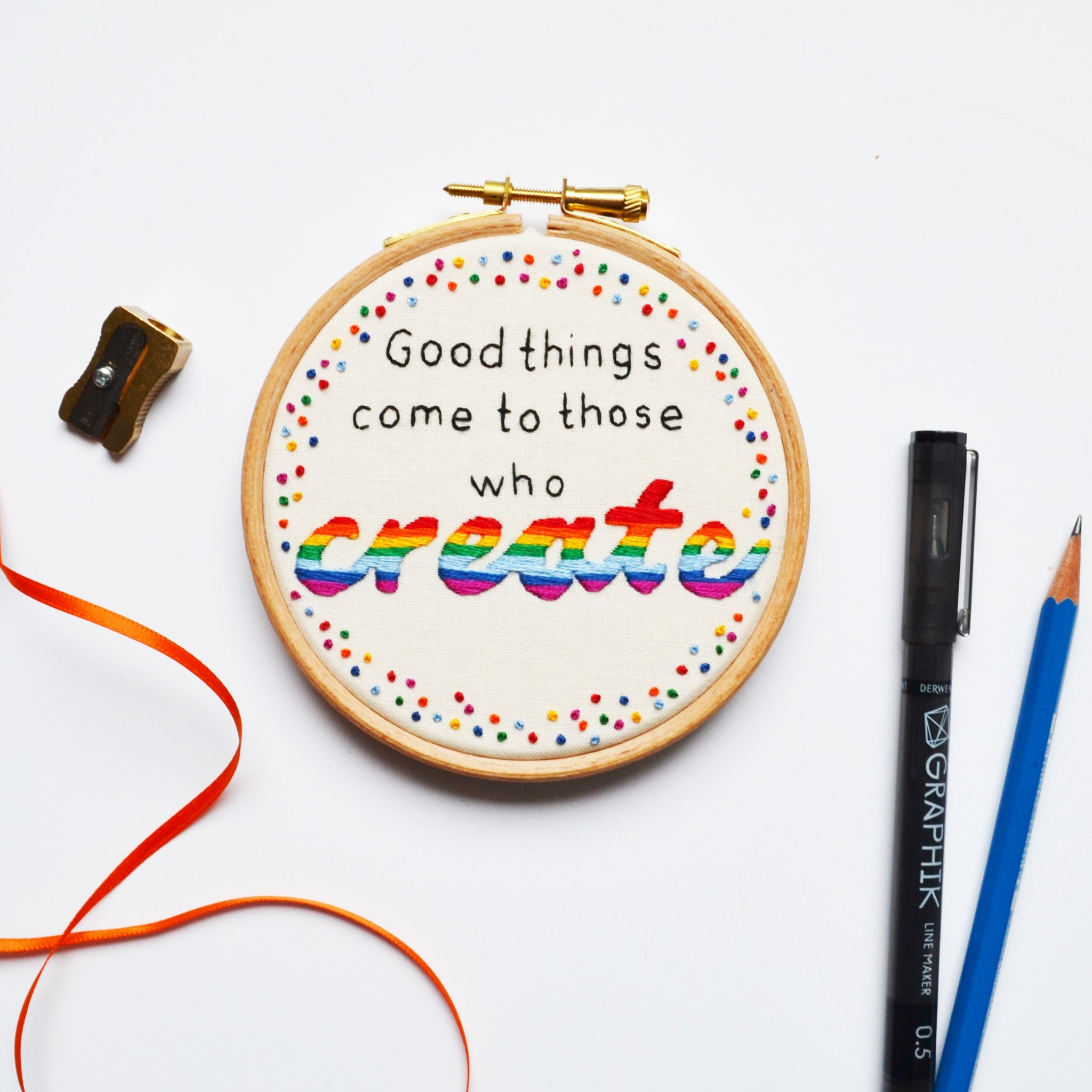 Hand Embroidery Hoop Art 'Good Things Come To Those Who Create'