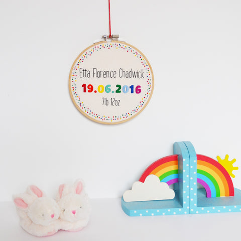 New Baby Personalised Wall Hanging Rainbow Hoop Art