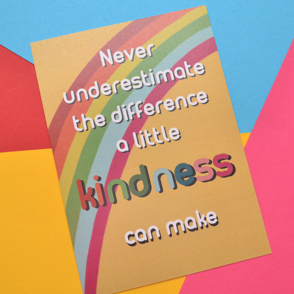Never underestimate the difference a little kindness can make postcard on a yellow and rainbow background