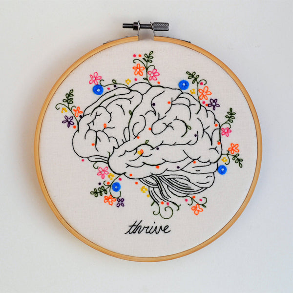 An anatomical hand embroidery hoop art of the illustration of a brain blooming with floral and leafy colourful details.