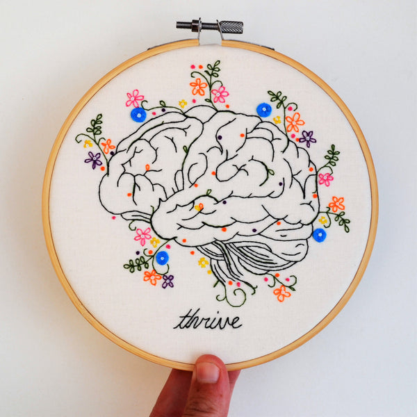 Anatomical Hand Embroidery Brain Hoop Art