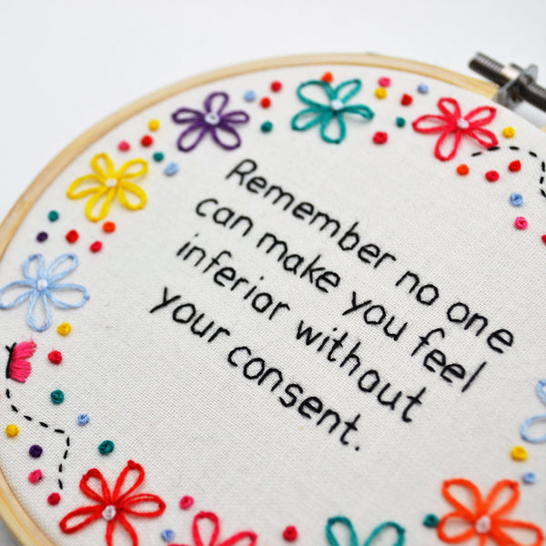 Remember Noone Can Make You Feel Hand Embroidery Inspirational Quote Hoop Art