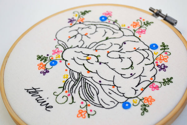 A close up of the textures of the anatomical brain embroidery blooming with leafy growths and floral details.