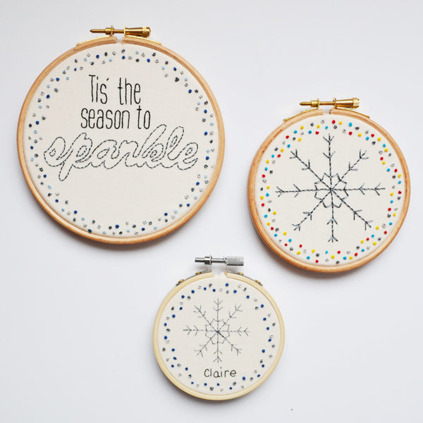 Personalised Miniature Hand Embroidery Snowflake