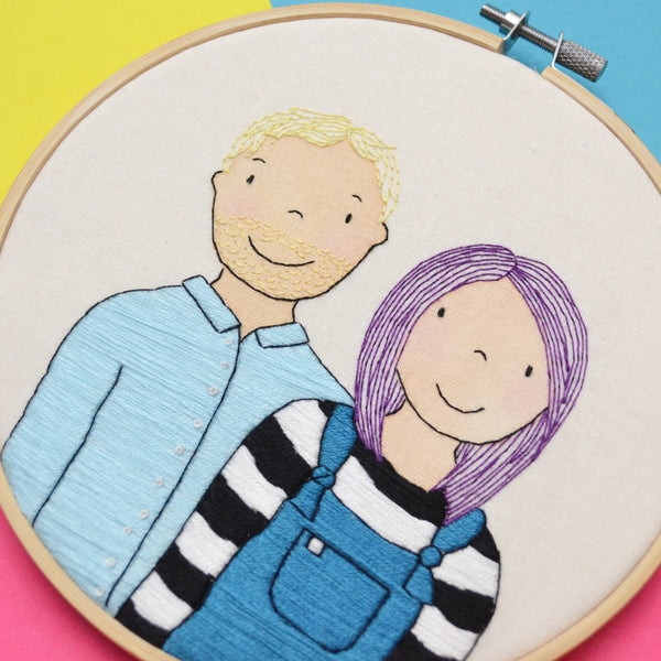 A side on view of the textures on the hand embroidered portrait of a couple