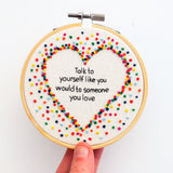 Inspirational Rainbow Heart Embroidery Hoop Art