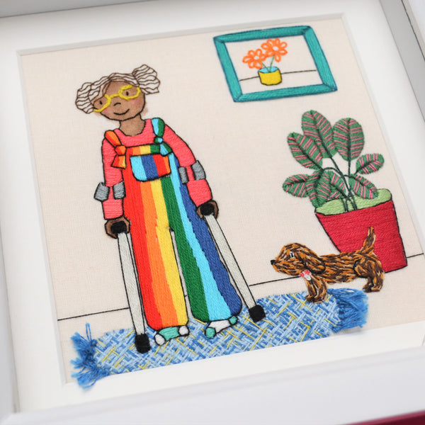 Live Colourfully Original Hand Embroidered Art