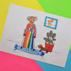 Rainbow dungarees Hand Embroidery A5 Art Print