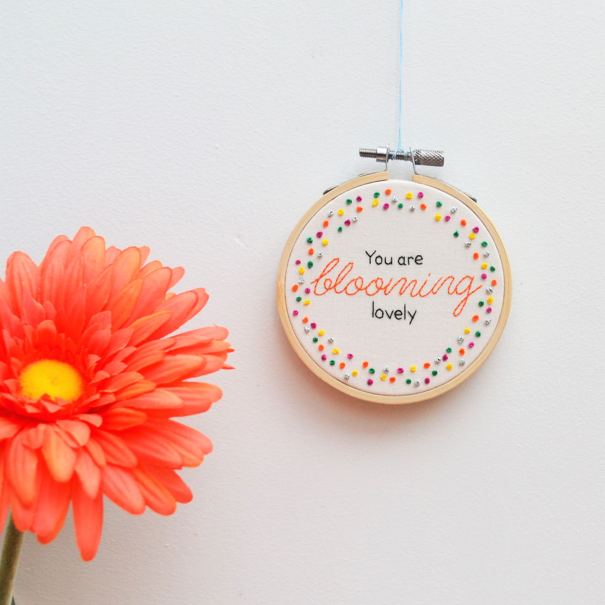 Blooming Lovely Miniature Embroidery Hoop Art