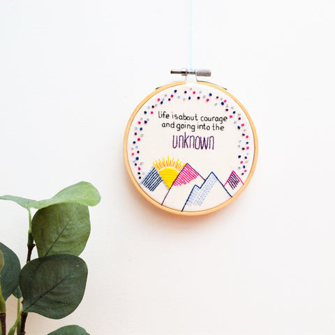 Geometric Mountains Hand Embroidery Hoop Art