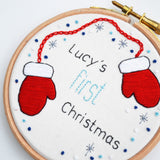 First Christmas Hand Embroidery Hoop Art