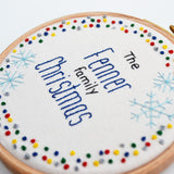 Personalised Family Christmas Embroidery Hoop