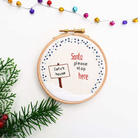 Santa Stop Here Personalised Christmas Decoration