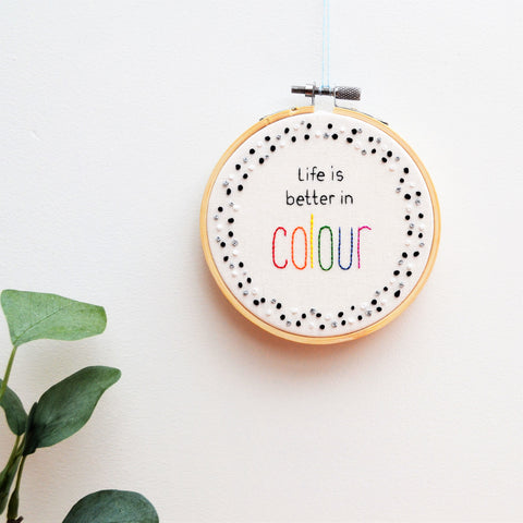 Life in Colour Monochrome Embroidery Wall Art