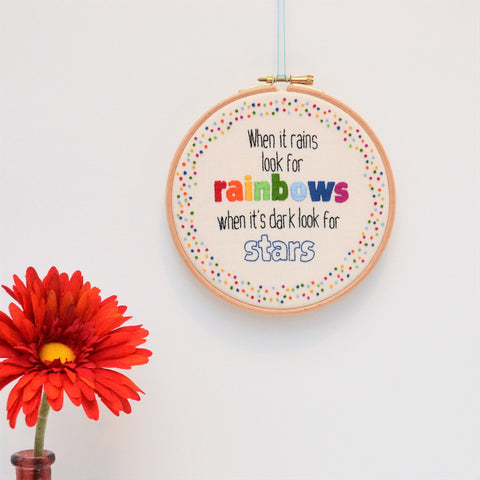 Inspirational Quote Rainbow Wall Art 'When It Rains'