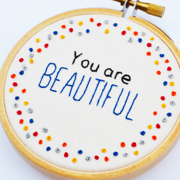 Miniature Embroidery Hoop Art 'You Are Beautiful'