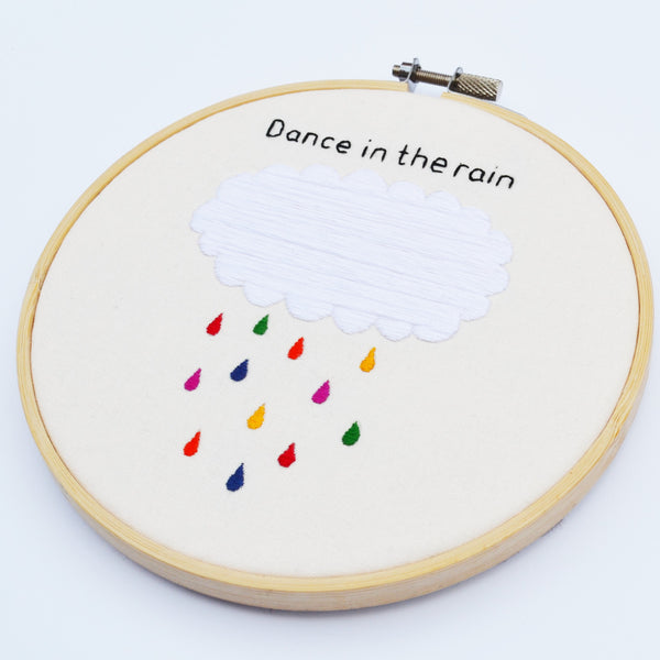 Hand Embroidery Inspirational Hoop Art 'Dance In The Rain'