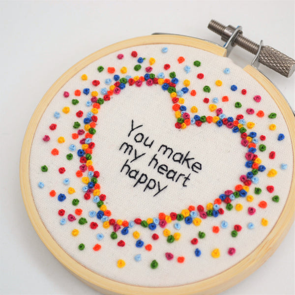 Rainbow Inspirational Quote Mini Hoop Art